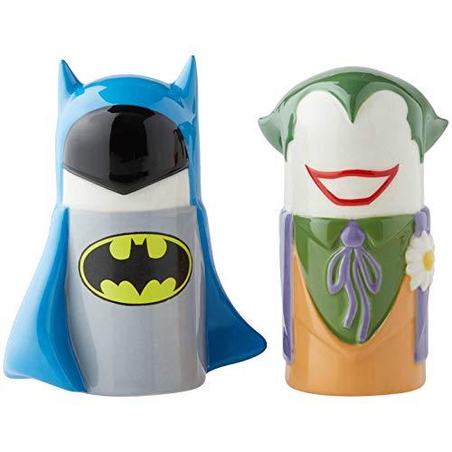 Enesco DC Comics Ceramics Batman vs. Joker Stylized Salt and Pepper Shakers, 3.89 Inch, Multicolor