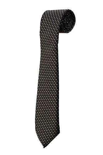 Cravate noire à petits pois beiges marron DESIGN costume homme mariage cérémonie