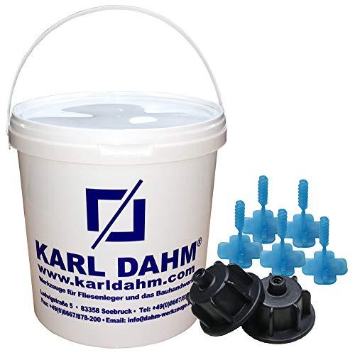 Karl Dahm Fliesen Nivelliersystem Levelmac Basis-Set für 3 mm Fugen: 50 schwarze Zughauben für Fliesenstärke 3-12 mm + 250 blaue Gewindelaschen + Eimer I Professionelle Fliesen Verlegehilfe – 12441