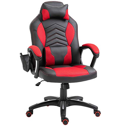 homcom Sedia Poltrona da Ufficio Massaggiante con Riscaldamento Design Ergonomico Reclinabile Ecopelle 68 × 69 × 108-117cm Rosso