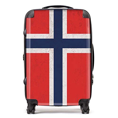 Noorwegen/Noorse vlag koffer met TSA slot 4 spinner wielen bagage 68cm 80Ltr / Noord-Europese vlaggen