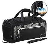 MIER Large Duffel Bag Men's Gym Bag with Shoe Compartment, 60L, Black