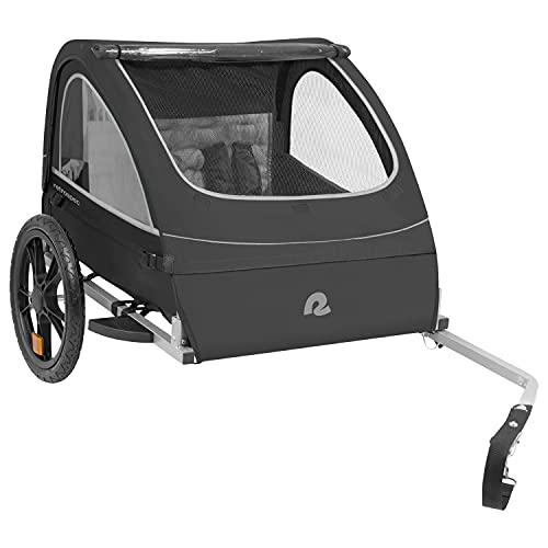 """Retrospec Rover Kids Bicycle Trailer - Single & Double Passenger Children's Foldable/Collapsible Tow Behind Bike Trailer with 16"""" Wheels, Safety Reflectors & Rear Storage Compartment - Black"""