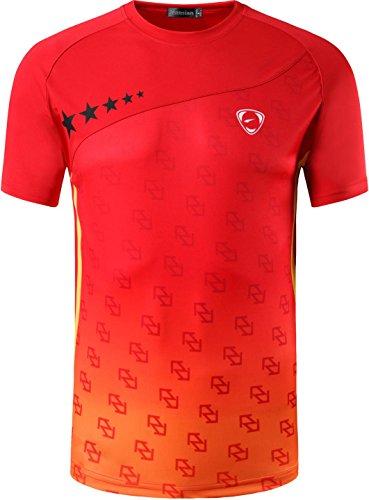 jeansian Uomo Asciugatura Rapida Sportivo Maglietta Gym Wear Workout T-Shirts LSL232 Red XL