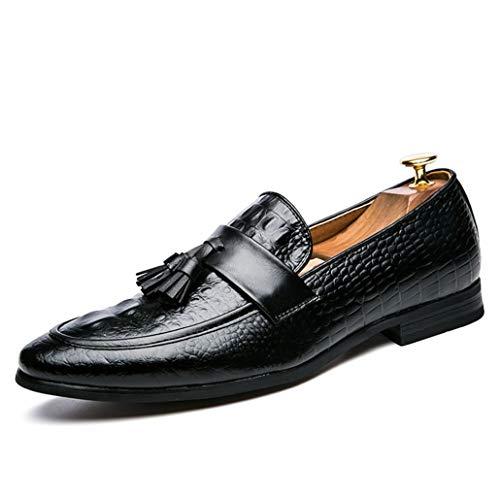 Verano Otoño Zapatos Formales Puntiagudos con borlas Zapatos Formales Planos sin Cordones Patrón de Colores Mezclados Mocasines británicos