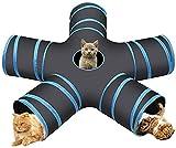 Túnel de juguete para gatos, juguete para gatos, túnel de juego de 5 vías, túnel plegable para mascotas, túnel interactivo para gatos, cachorros, gatos, gatos, conejos (azul)