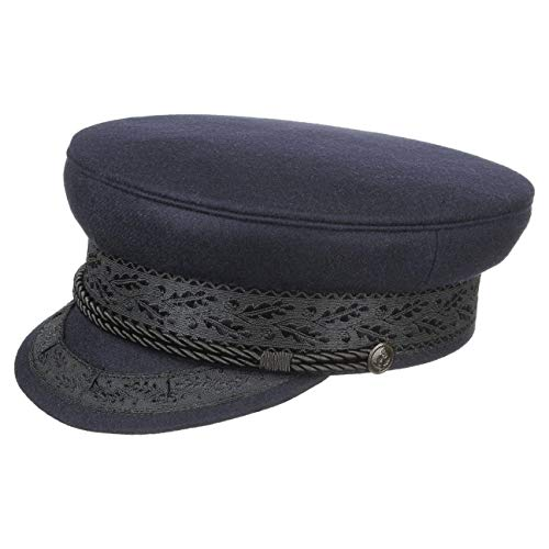 HAMMABURG Prinz-Heinrich-Mütze in Blau Herren - Größe S 55 cm - traditionelle Kapitänsmütze aus Tuch - Klassische Schirmmütze mit Kordel, an der Schiffermütze befestigt durch Ankermotiv-Knöpfe