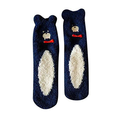 NEW! Somerl kuschelsocken strümpfe Mode Schöne Koralle Verdickung Fuzzy Mittlere Strümpfe Bodensocken(Navy,Free)