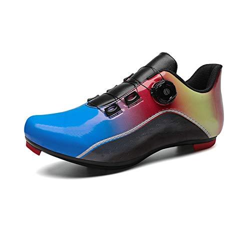 Zapatillas de ciclismo para hombre y mujer, con zapatos de calle, peloton, compatibles con SPD y Delta para interiores y exteriores, con pedal de bloqueo (tamaño: 39-255 mm, color: azul)