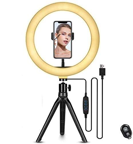 Anillo De Luz Led, Mcon Soporte para Teléfono Móvil Anillo De Luz para Selfie con 3 Modos De Luz 10 Niveles De Brillo, para Tomar Fotos O Grabar Videos Luz En Vivo con Bluetooth