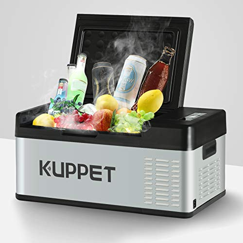 KUPPET Portable Refrigerator/Fridge 20Qt, Vehicle Refrigerator - Car Freezer, Dual Temperature Electric Cooler for Camping, Beach Party, Travel, Picnic Outdoor - 12/24V DC and 100-240V AC, -4°F ~ 68°F