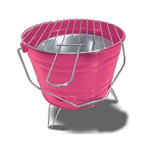 ACTIVA Grill Grilleimer Grillkübel Feuerkorb Picknick Party BBQ Grill Pink
