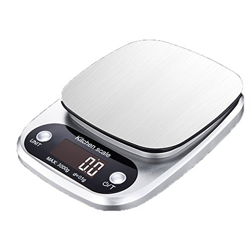 Báscula de Cocina Báscula electrónica Báscula de Hornear Báscula de Alimentos Báscula pequeña Acero Inoxidable de pequeña Escala Pesaje práctico (Size : 3kg/0.1g)