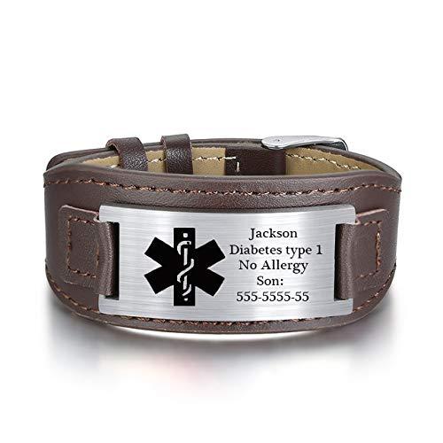 KAULULU Herren Damen Personalisierte Lederarmbänder mit Namen Gravur Medical Alert ID Notfallarmband Edelstahl Armbänder für Männer Frauen Personalisierte Geschenke (#2)
