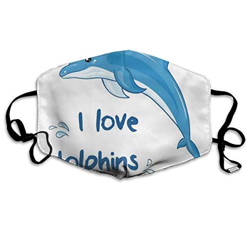 Bequeme Winddichte Maske, Cartoon-Stil Ozean Tier mit ich Liebe Delfine Zitat und Wasser spritzt Bild