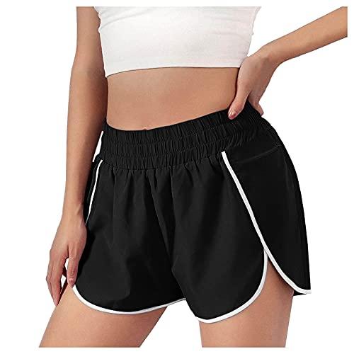 Sunggoko Pantalones cortos de deporte para mujer, de secado rápido, ligeros, para fitness, yoga, alta elasticidad y transpirables., Negro 1, L