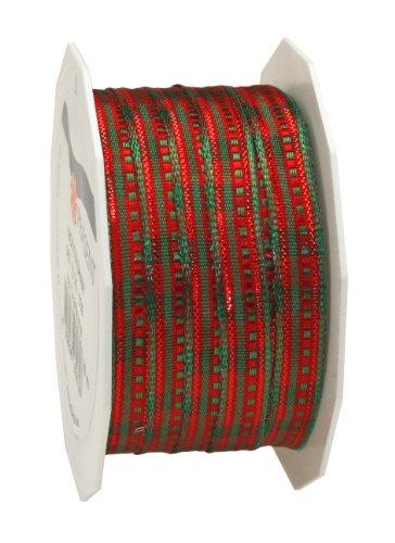 Presente C.E. Pattberg Dekoband Nottingham taffetà con Filo, a Strisce, 10 x 20 m, Rosso/Verde mm