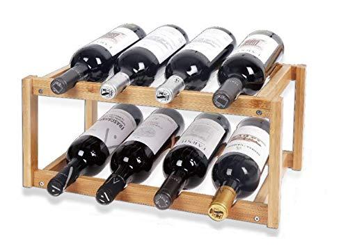 LEYENDAS Botellero de Madera de Bambú. Estante para Botellas de Vino, Organizador de Vino. Vinoteca de Madera para Botella de Vino, Botella de Cerveza (42x26.5x20cm, BAMBÚ 8)