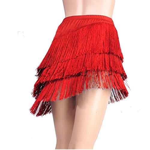 Donna Latine Tango Sala da Ballo Nappa Gonna con Frange Samba Salsa Abito da Ballo Dancewear (Rosso, Etichetta 2XL(US L): Vita 79cm/31)