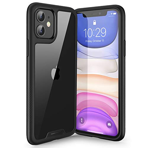 UNBREAKcable iPhone 11 Hülle [Anti-Gelb & Kratzfest] - Handyhülle iPhone 11 Ultra Clear, Hartplastik Back & Weich Silikon Bumper Cover Klar Schutzhülle, Case für iPhone 11 - Matt schwarz