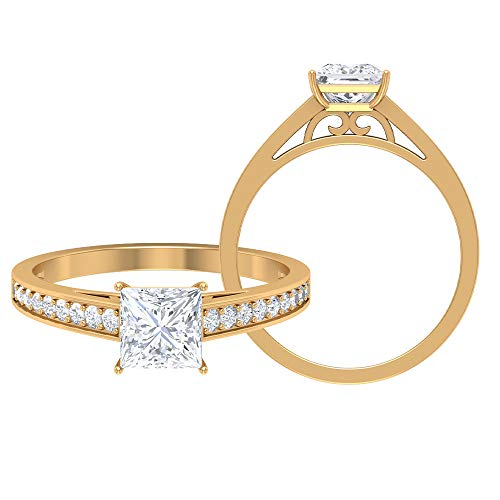 Rosec Jewels 14 quilates oro amarillo talla princesa Round Brilliant Moissanite