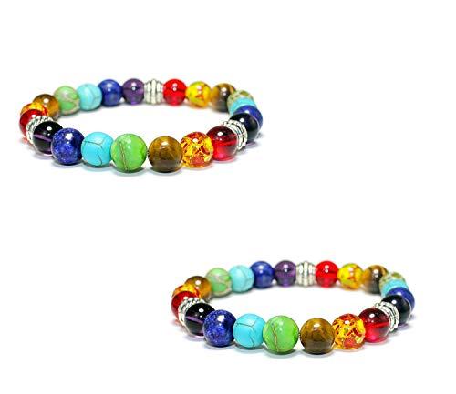 NANHUA 7 Chakras 8mm Lava Rock Stone Anxiety Bracelet Essential Oil Diffuser Stone Yoga Beads Bracelets Meditation Relax Healing Aromatherapy Bangle for Men Wonmen Kids (SL01-BT)