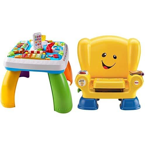 Fisher-Price Drh33 Tavolino Attivita della Citta con 3 Livelli di Gioco Che Crescono con Il Bambino & La Poltroncina di Cagnolino, Seggiolina Educativa per Imparare Suoni, Musica E Frasi