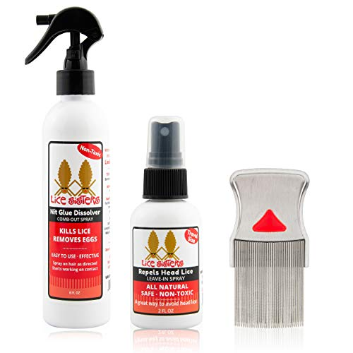 Lice Sisters Lice Treatment and Prevention Kit, Large - Nit Glue Dissolver, Repel Lice Prevention Spray and Comb for Nit and Lice Free Hair