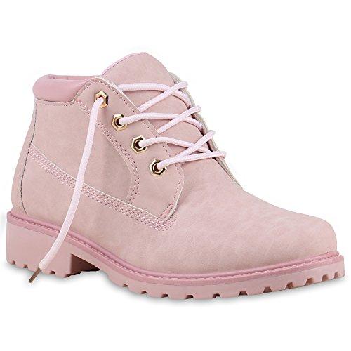 Damen Stiefeletten Worker Boots Pastell Schnürstiefel Schuhe 132049 Rosa 39 Flandell