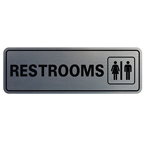 Top restroom sign silver for 2021