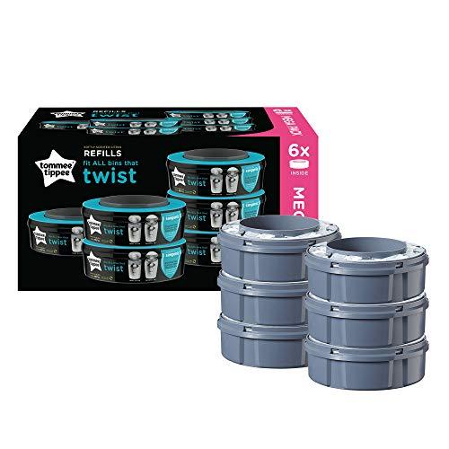 Tommee Tippee Sangenic Recambios Sistema avanzado para desechar pañales Twist & Click, paquete de 6 (compatibles con los contenedores Sangenic TEC y Twist and Click)