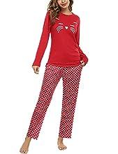 Uniexcosm Pijamas Mujer, Pijamas Mujer Gato Pijamas para Mujer Algodon de Manga Larga Ropa de Casa Dormir Estampado en Cuello Redondo Pijama Mujer 2 Piezas Suave para Casual Rojo L