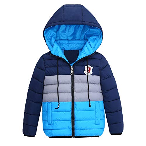 FeiliandaJJ FeiliandaJJ Kinder Mantel Junge,Toddler Winterjacke mit Kapuze Zipper Outwear Jacken Kids Coat Baumwoll Warme Kleidung 4~7 Jahre alt (130 (5~6 Jahr alt), Hellblau)