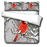 Duvet Cover Twin 90x104 inch Red Robin,Super Soft Quilt Duvet Cover Bedding Set...