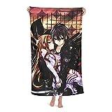 Sword Art Online - Toalla de baño para mujer, de secado rápido, súper absorbente, de microfibra suave, 80 x 130 cm, para natación, gimnasio, para hombre, playa