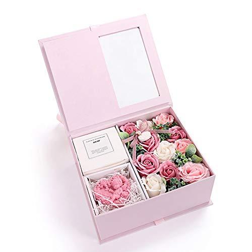 Tolyneil Jabón Flor Caja de Regalo, Decoración de Flores Hecho a Mano Jabón Artificial Flor Rosa Ramo Día de la Madre Regalos creativos Regalo del día de San Valentín (Pink)