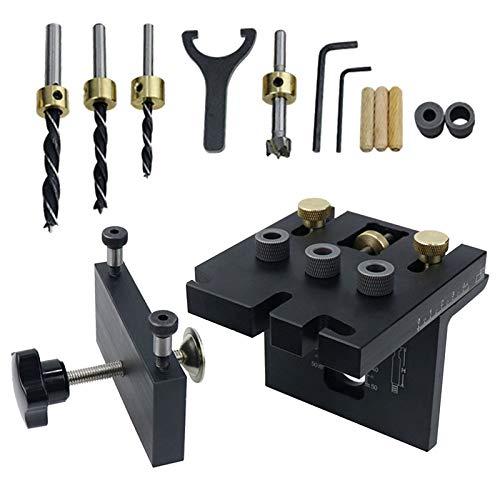 Plantilla de agujero de bolsillo, 3 en 1 kit plantilla de clavija para carpintería con clip de posicionamiento, guía de perforación ajustable, localizador de perforadora, herramientas de carpintería