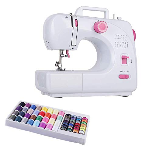 RZChome Sewing Machine Portable 16 Built-in Double Thread with 60 Sewing Thread Coils Electric Household Easy to Use for Beginners Pink Sew
