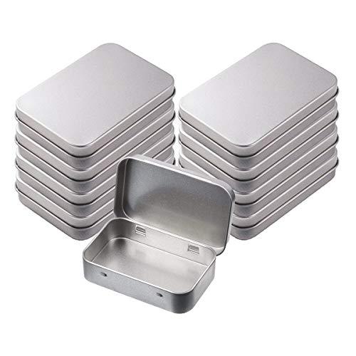 INTVN Metalldose, Kleine Blechdosen Tragbare Blechbox Rechteckige Dosen Container mit Scharnier Deckel für Nähen Perlen Candy Schmuck Zubehör, 8 Stück, Silber