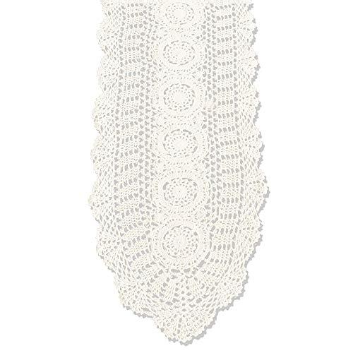 tidetex rústico encaje Crochet Floral mesa cubierta Hollow fuera Tejido a mano Camino de mesa camino de Simple sólido gabinete/mesa de comedor decoración alfombrillas