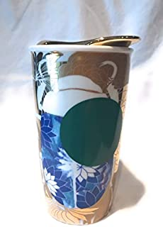 Starbucks 2014 Dot Collection Beetle Gold White Green Blue Double Walled Ceramic Travel Tumbler Mug