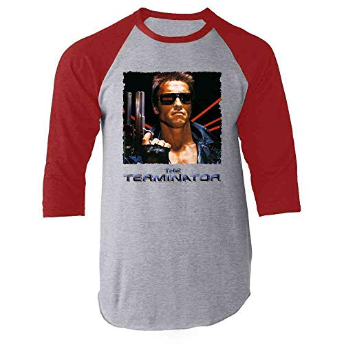 The TerminatorRaglan Baseball 3/4 Sleeve Shirt, Red, Gray, Adult S to 3XL