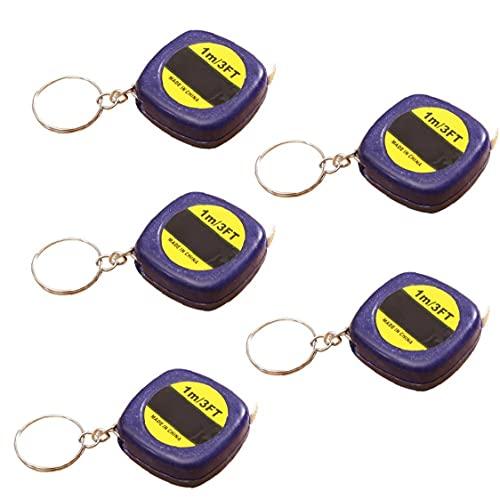 Nicedier Bandmaß Schlüsselanhänger Mini-Maßbänder mit stabilem Schiebeverschluss Metric und Zoll-Skala Maßband für Home Office zufällige Farbe 5 PC-Taschen, Accessoires