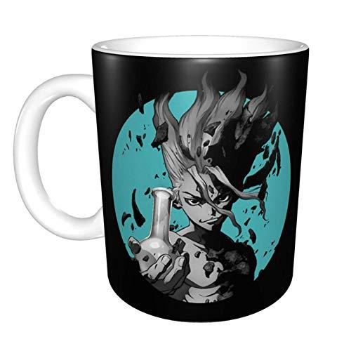 330ML Taza de cerámica Tazas de café Dr Stone Ishigami Senku Taza de té para oficina y hogar, regalo divertido