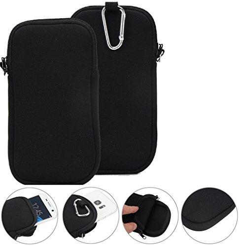 K-S-Trade Neopren Handy Hülle Kompatibel Mit iPhone 12 Schutzhülle Neoprenhülle Sleeve Schutz Hülle Gürtel Tasche Case Holster Handytasche Schwarz