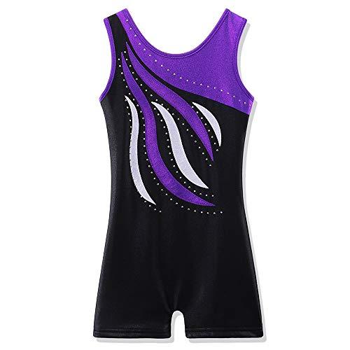 BAOHULU Leotard for Toddler Girls Gymnastics Shorts Sparkle Embroidery Tank Biketards One Piece B165_BlackPurple_130 Black Purple