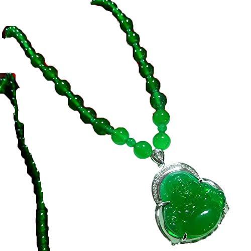 Colgante de calcedonia Verde Natural Buda Jade Colgante de Plata de Ley 925 con Incrustaciones de Jade Buda Hombres y Mujeres Collar