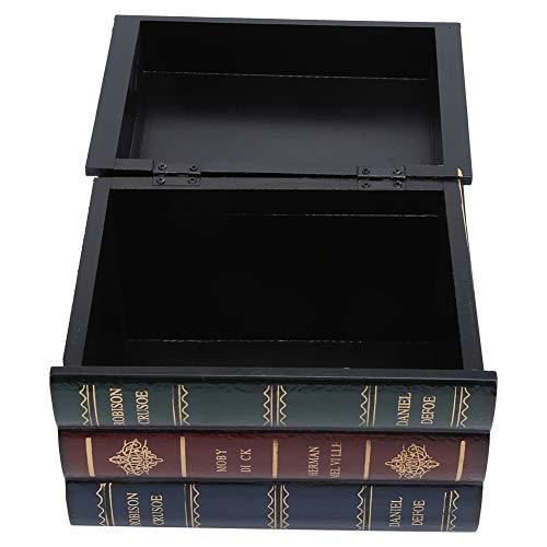 Caja con forma de libro, caja con forma de libro antiguo de madera que ahorra espacio, pintada a mano, decoración de estanterías de oficina para decoración del hogar, regalos, cajas de