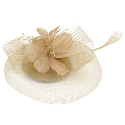 Lurrose Clip de pelo de plumas con velo de flores para boda,...