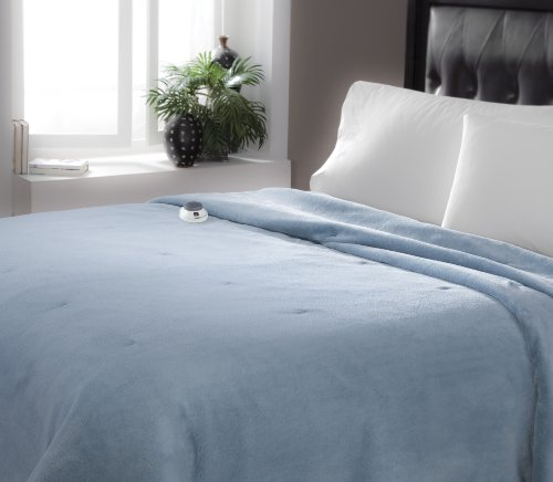 Serta   Luxe Plush Fleece Heated Electric Blanket with Safe & Warm Low-Voltage Technology Full Sapphire